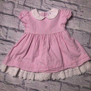 RALPH LAUREN BABY GIRL PINK SEERSUCKER DRESS 6M
